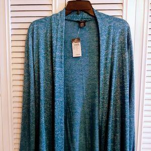 Ladies Large teal denim look sweater/ cardigan